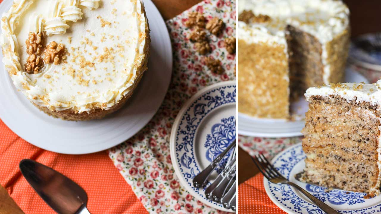 Walnut Cake Recipe for Mother's Day or Afternoon Tea
